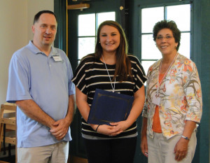 Student Scholarship recipient Kayla Key (center) with outgoing president Keith Hurley and incoming president Jeanette Jones